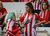 June 4th 2017, Estadi Montilivi,  Girona, Catalonia, Spain; Spanish Segunda División Football, Girona versus Zaragoza; Two girls decked out with Girona shirts before the kick off;