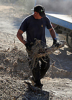FAO JANET TOMLINSON, DAILY MAIL PICTURE DESK<br /> Pictured: Special forensics police officers search a part of a field near a disused building in Kos, Greece. Saturday 01 October 2016<br /> Re: Police teams led by South Yorkshire Police, searching for missing toddler Ben Needham on the Greek island of Kos have moved to a new area in the field they are searching.<br /> Ben, from Sheffield, was 21 months old when he disappeared on 24 July 1991 during a family holiday.<br /> Digging has begun at a new site after a fresh line of inquiry suggested he could have been crushed by a digger.