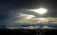 rain sun Phoenix Arizona weather storm chaser chasing mountain desert silhouette city sunset