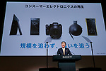 Kazuo Hirai, President and Chief Executive Officer of Sony Corp. speaks during a news conference at the company's headquarters on May 23, 2017, Tokyo, Japan. Hirai announced Sony's midterm financial targets for the current fiscal year ending March 31, 2018. (Photo by Rodrigo Reyes Marin/AFLO)