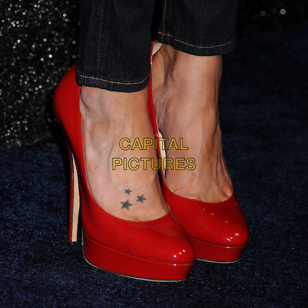 Katie Cassidy's shoes.People StyleWatch hosts Hollywood Demin Party in honor of 2nd Annual Denim Issue held at Palihouse, West Hollywood, California USA..20th September 2012.feet heels red patent platform stars tattoos.CAP/ADM/BP.©Byron Purvis/AdMedia/Capital Pictures.