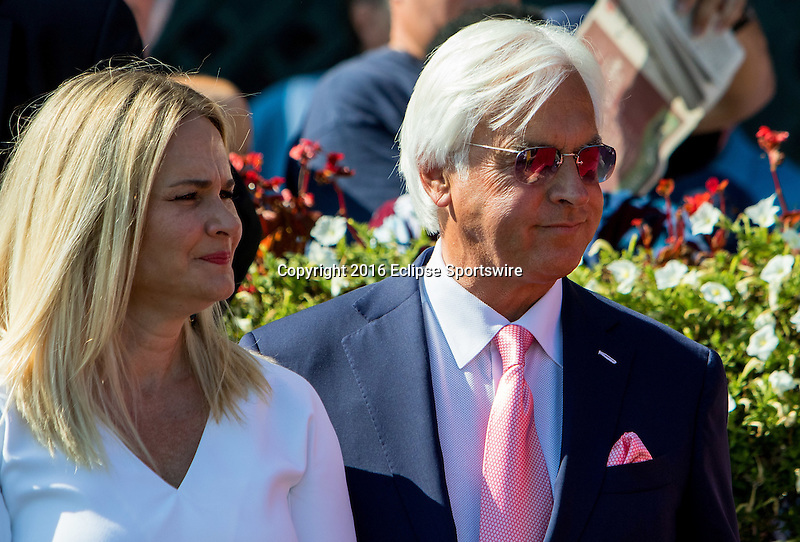 SARATOGA SPRINGS - AUGUST 27: Trainer Bob Baffert and his wife Jill Baffert stand in the winner's circle after Drefong #13 (not pictured) won the Ketel One King's Bishop Stakes on Travers Stakes Day at Saratoga Race Course on August 27, 2016 in Saratoga Springs, New York. (Photo by Sue Kawczynski/Eclipse Sportswire/Getty Images)