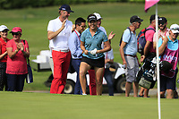 Georga Hall (ENG) chips onto the 8th green and holes it during Thursday's Round 1 of The Evian Championship 2018, held at the Evian Resort Golf Club, Evian-les-Bains, France. 13th September 2018.<br /> Picture: Eoin Clarke | Golffile<br /> <br /> <br /> All photos usage must carry mandatory copyright credit (© Golffile | Eoin Clarke)