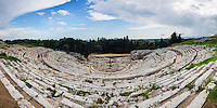 Panoramic photo of Teatro Greco (Greek Theatre), the Greek Amphitheatre at Syracuse (Siracusa), UNESCO World Heritage Site, Sicily, Italy, Europe. This is a panoramic photo of Teatro Greco (Greek Theatre), the Greek Amphitheatre at Syracuse (Siracusa), UNESCO World Heritage Site, Sicily, Italy, Europe.