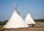 Campsite Indian tepees at Deepdale Camping, Burnham Deepdale, Norfolk, England