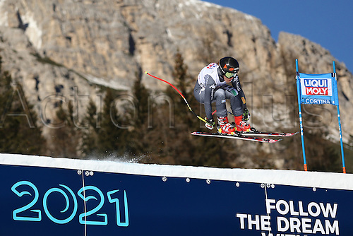 January 29th 2017, Cortina d'Ampezzo, Dolomites, Veneto, Italy; FIS Alpine Skiing World Cup Women's Super-G;   Sofia Goggia as Slovenia's Ilka Stuhec wins ahead of Italy's Goggia with Anna Veith from Austria in third.