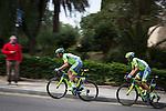 Matteo Tosatto leads Alberto Contador and the peloton as it climbs Montjuic, Barcelona, on the last stage of the Volta Catalunya 2016 cycling race. The leader, Nairo Quintana, successfully defending his jersey from Alberto Contador and Dan Martin.<br /> <br /> El pelotón sube Montjuic, Barcelona, en la última etapa de la carrera ciclista Volta Catalunya 2016. El líder, Nairo Quintana, defendiendo con éxito su maillot de Alberto Contador y Dan Martin.<br /> <br /> El gran grup puja Montjuïc, Barcelona, en l'última etapa de la cursa ciclista Volta Catalunya 2016. El líder, Nairo Quintana, defensant amb èxit el seu mallot d'Alberto Contador i Dan Martin.