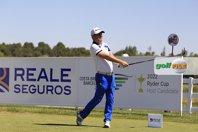 Marco Crespi (ITA) on the 1st tee during Round 2 of the Open de Espana  in Club de Golf el Prat, Barcelona on Friday 15th May 2015.<br /> Picture:  Thos Caffrey / www.golffile.ie