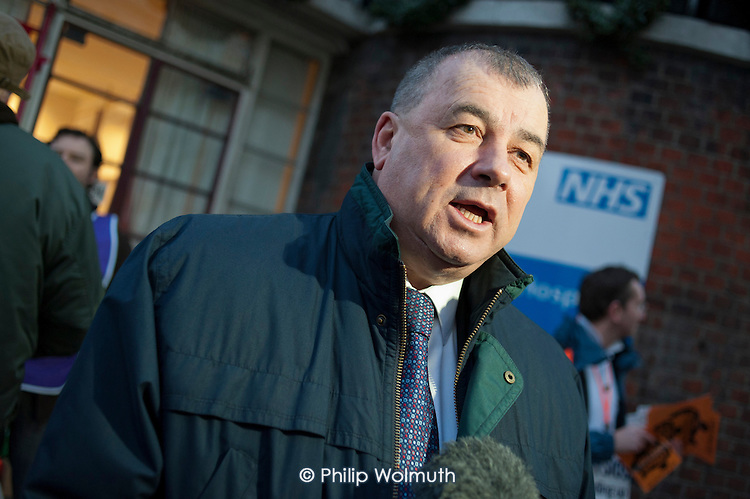 TUC General Secretary Brendan Barber visits an early morning picket outside St.Pancras Hospital, London. Strike by public sector workers over pensions.