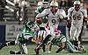 Clarke quarterback No. 9 Corey Rosenbloom runs the ball on a keep during a Nassau County varsity football Conference IV semifinal against Seaford at Hofstra University on Thursday, Nov. 12, 2015. <br /> <br /> James Escher