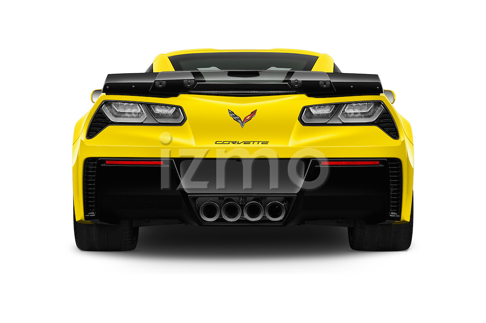 Straight rear view of 2016 Chevrolet Corvette Z06-Coupe-1LZ 3 Door Targa Rear View  stock images