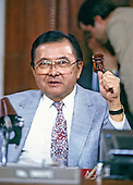 United States Senator Daniel K. Inouye (Democrat of Hawaii), Chairman of the Senate Select Committee on Secret Military Assistance to Iran and the Nicaraguan Opposition, uses his gavel to call the committee to order during a Summer, 1987 hearing.  Senator Inouye passed away due to respiratory complications at Walter Reed National Military Medical Center in Bethesda on Monday, December 17, 2012. He was 88..Credit: Ron Sachs / CNP