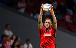 Atletico de Madrid's Jan Oblak during La Liga match. Aug 18, 2019. (ALTERPHOTOS/Manu R.B.)Atletico de Madrid's Jan Oblak warms up before during the Spanish La Liga match between Atletico de Madrid and Getafe CF at Wanda Metropolitano Stadium in Madrid, Spain