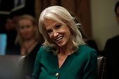 Senior Counselor Kellyanne Conway smiles during a meeting with President Donald Trump on youth vaping and the electronic cigarette epidemic in the Cabinet Room at the White House in Washington on November 22, 2019. <br /> Credit: Yuri Gripas / Pool via CNP