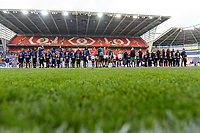 20170601 - CARDIFF , WALES : both team line-ups pictured during a womensoccer match between the teams of  Olympique Lyonnais and PARIS SG, during the final of the Uefa Women Champions League 2016 - 2017 at the Cardiff City Stadium , Cardiff - Wales - United Kingdom , Thursday 1  June 2017 . PHOTO SPORTPIX.BE | DAVID CATRY