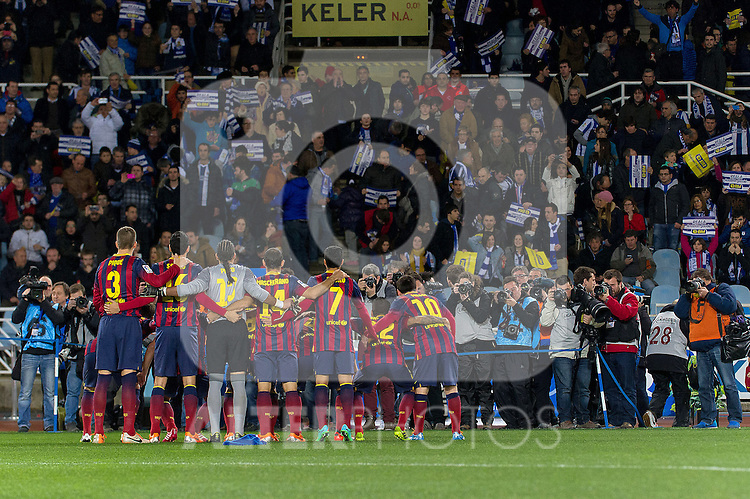 FC Barcelona's team photo during La Copa match.February 12,2014. (ALTERPHOTOS/Mikel)
