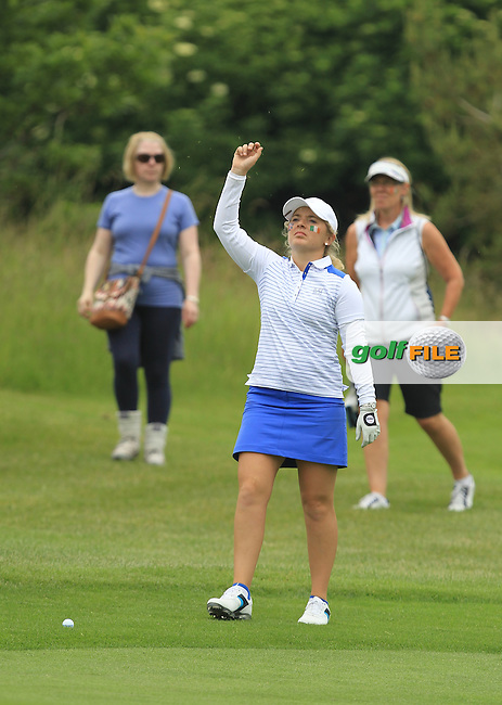 Bronte Law on the 5th during the Friday afternoon Fourballs of the 2016 Curtis Cup at Dun Laoghaire Golf Club on Friday 10th June 2016.<br /> Picture:  Golffile | Thos Caffrey