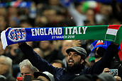 27th March 2018, Wembley Stadium, London, England; International Football Friendly, England versus Italy;A fan holds a half and half scarf