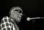 Modesto, California&mdash;September 20, 1980-Ray Charles preforms at Modesto Junior College Auditorium. <br /> Photo by Al Golub/Golub Photography