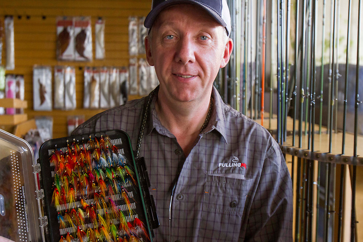 Fly-tying master Davie Mcphail at the Fishermans Spot in Los Angeles California,  April 2, 2017. (Photo: Gerard Burkhart)