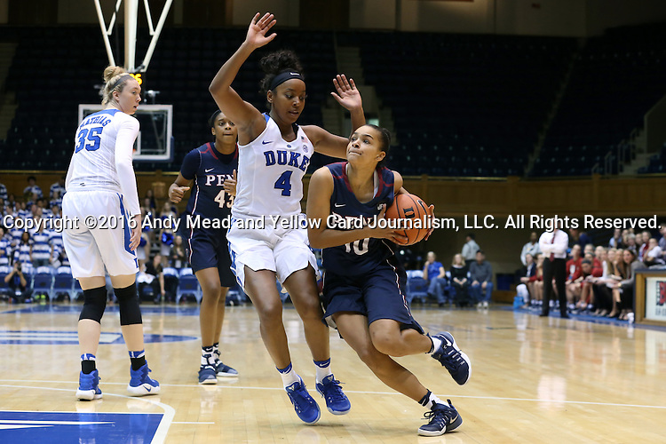 13 November 2016: Penn's Anna Ross (10) and Duke's Lexie Brown (4). The Duke University Blue Devils hosted the University of Pennsylvania Quakers at Cameron Indoor Stadium in Durham, North Carolina in a 2016-17 NCAA Division I Women's Basketball game. Duke defeated Penn 68-55.