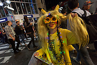 A man dressed as as the Pikachu character from Pokemon during the  Halloween celebrations Shibuya, Tokyo, Japan. Saturday October 27th 2018. The celebrations marking this event have grown in popularity in Japan recently. Enjoyed mostly by young adults who like to dress up, drink , dance and misbehave in parts of Tokyo like Shibuya and Roppongi. There has been a push back from Japanese society and the police to try to limit the bad behaviour.