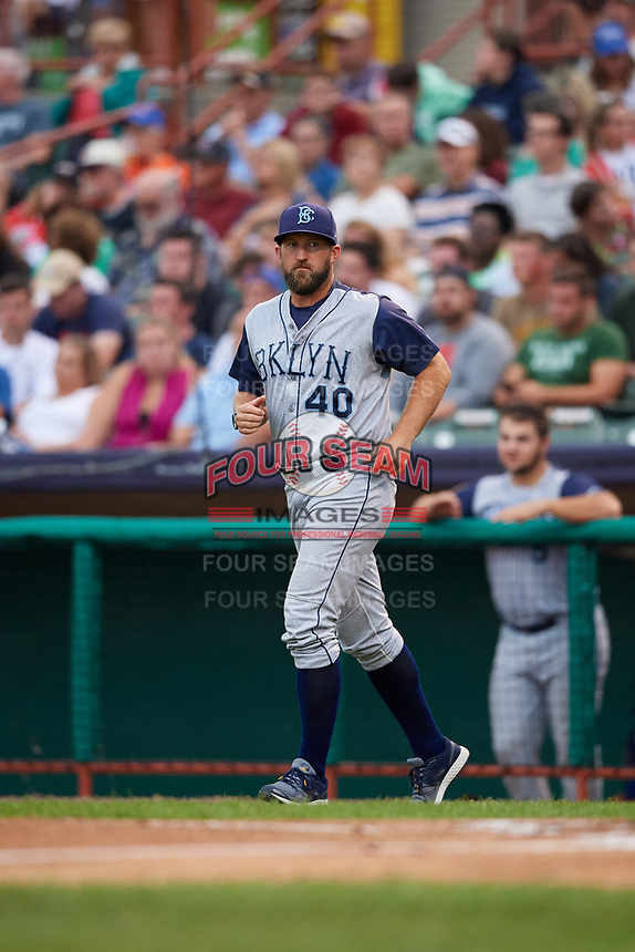 Brooklyn Cyclones pitching coach Royce Ring (40) jogs to the mound during a game against the Tri-City ValleyCats on August 21, 2018 at Joseph L. Bruno Stadium in Troy, New York.  Tri-City defeated Brooklyn 5-2.  (Mike Janes/Four Seam Images)