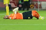 Villarreal goalkeeper J. Asenjo lying on the ground after colliding with Sevilla's Iago Aspasduring the match between Sevilla FC and Villarreal day 9 spanish  BBVA League 2014-2015 day 5, played at Sanchez Pizjuan stadium in Seville, Spain. (PHOTO: CARLOS BOUZA / BOUZA PRESS / ALTER PHOTOS)