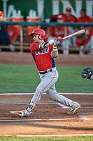Keinner Pina (4) of the Orem Owlz bats against the Ogden Raptors at Lindquist Field on September 2, 2017 in Ogden, Utah. Ogden defeated Orem 16-4. (Stephen Smith/Four Seam Images)