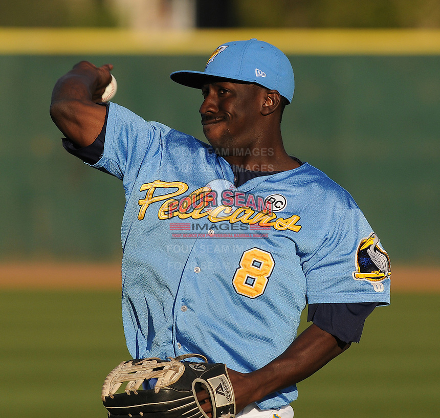 April 10, 2009: Outfielder Quentin Davis (8) of the Myrtle Beach Pelicans, Class A affiliate of the Atlanta Braves, in a game against the Wilmington Blue Rocks at BB&T Coastal Field in Myrtle Beach, S.C. Photo by:  Tom Priddy/Four Seam Images