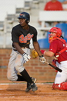 Corey Thomas #3 of the Bluefield Orioles follows through on his swing versus the Johnson City Cardinals at Howard Johnson Field August 1, 2009 in Johnson City, Tennessee. (Photo by Brian Westerholt / Four Seam Images)