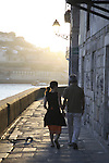 People walking in the Ribeira neighbourhood besides the River Douro, Porto - Oporto, Douro Litoral, Portugal