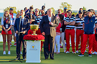 President Trump is introduced to speak at trophy presentation following round 4 Singles of the 2017 President's Cup, Liberty National Golf Club, Jersey City, New Jersey, USA. 10/1/2017. <br /> Picture: Golffile | Ken Murray<br /> <br /> All photo usage must carry mandatory copyright credit (&copy; Golffile | Ken Murray)