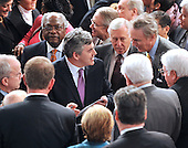 Washington, DC - March 4, 2009 -- The Right Honorable Gordon Brown, M.P., Prime Minister of the United Kingdom, is surrounded by Members of Congress looking for autographs as he departs the House Chamber after addressing a Joint Session of the United States Congress in the U.S. Capitol in Washington, D.C. on Wednesday, March 4, 2009..Credit: Ron Sachs / CNP