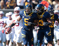 October 20th, 2012: California's Mike Manuel celebrates Brendan Bigelow's punt return performance during a game against Stanford at Memorial Stadium at Berkeley, Ca   Stanford defeated California 21 - 3