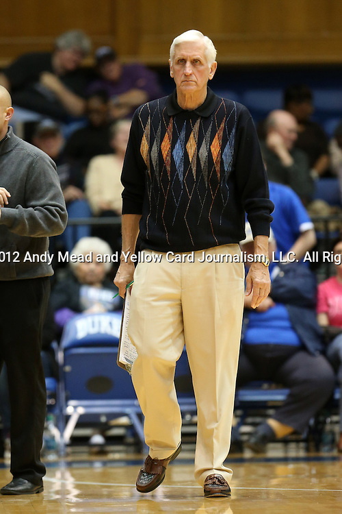17 November 2012: Duke assistant coach Al Brown. The Duke University Blue Devils played the Presbyterian College Blue Hose at Cameron Indoor Stadium in Durham, North Carolina in an NCAA Division I Women's Basketball game. Duke won the game 84-45.