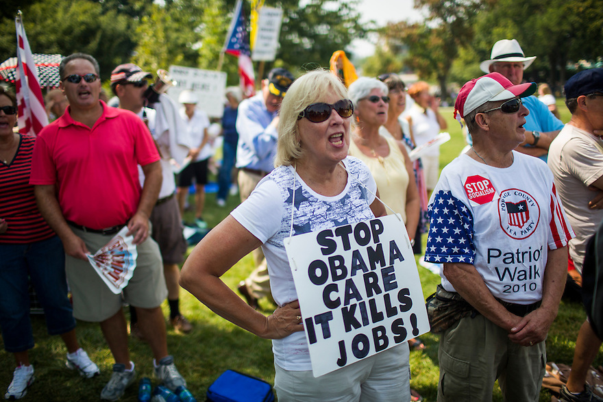 "The Tea Party holds an  ""Exempt America from Obamacare"" rally on Capitol Hill in Washington."