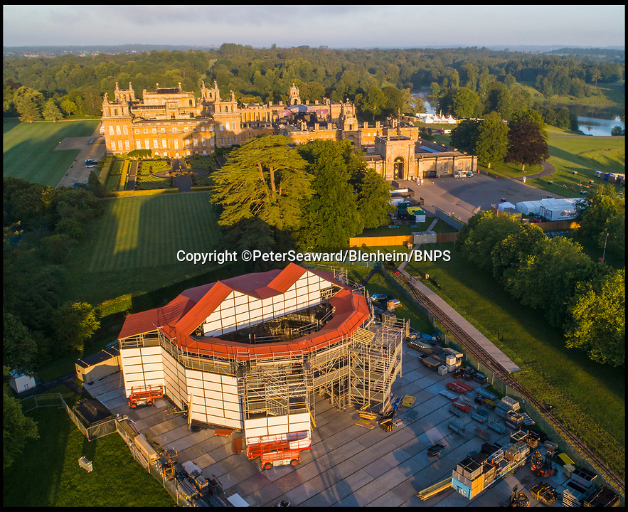 BNPS.co.uk (01202 558833)<br /> Pic: PeterSeaward/Blenheim/BNPS<br /> <br /> SHAKESPEARE'S POP-UP ROSE THEATRE<br /> TAKING SHAPE AT BLENHEIM PALACE<br /> <br /> A team of builders has begun work on constructing a replica of Shakespeare's famous Rose Theatre at Blenheim Palace.<br /> <br /> The full-scale pop-up version of the Elizabethan playhouse is being recreated in the Oxfordshire UNESCO World Heritage Site's historic grounds for a nine-week season, showcasing four of the bard's greatest plays <br /> <br /> Inspired by the original, which opened on London's Bankside in 1587, it will house a total of 900 people, with 560 seated in three covered tiers around an open-roofed courtyard and standing room for 340 'groundlings'.