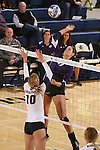 SIOUX FALLS, SD - OCTOBER 14: Samantha Lovell #17 from the University of Sioux Falls looks to get a kill past Ashley Wilson #10 from Augustana in the first game of their match Tuesday night at the Elmen Center. (Photo by Dave Eggen/Inertia)