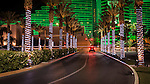 Light-wrapped palm trees at the Tropicana with the green neon of the MGM Grand hotel behind, nighttime in Las Vegas