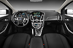 Straight dashboard view of 2012 Ford Focus Hatchback Titanium Stock Photo
