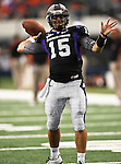 TCU Horned Frogs quarterback Rick Settle #15 warming up before the game between the Oregon State Beavers and the TCU Horned Frogs at the Cowboy Stadium in Arlington,Texas. TCU defeated Oregon State 30-21.