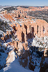 Bryce Canyon National Park, Utah; views from Rainbow Point looking north with snow in winter, afternoon