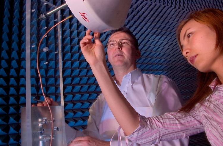 16840Chris Bartone & Yutie Zhang work on Antenna in Morton 120:Engineering:Students..Electrical Engineering And Computer Science