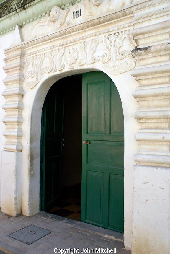 Doorway of Audiencia de las Confines in the Spanish colonial town of Gracias, Lempira, Honduras...