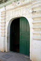 Doorway of Audiencia de las Confines in the Spanish colonial town of Gracias, Lempira, Honduras...