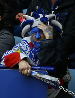 A disinterested Leicester fan looks on during the Barclays Premier League match between Leicester City and Swansea City played at The King Power Stadium, Leicester on 24th April 2016