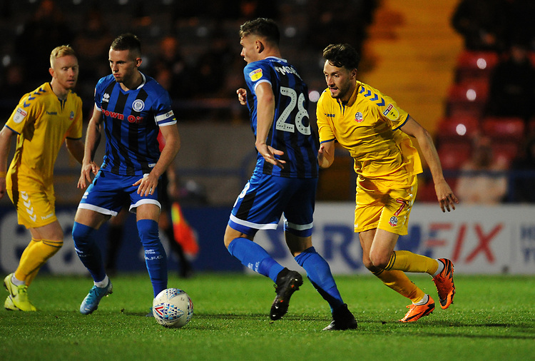 Rochdale's Aaron Morley under pressure from Bolton Wanderers' Will Buckley\<br /> <br /> Photographer Kevin Barnes/CameraSport<br /> <br /> EFL Leasing.com Trophy - Northern Section - Group F - Rochdale v Bolton Wanderers - Tuesday 1st October 2019  - University of Bolton Stadium - Bolton<br />  <br /> World Copyright © 2018 CameraSport. All rights reserved. 43 Linden Ave. Countesthorpe. Leicester. England. LE8 5PG - Tel: +44 (0) 116 277 4147 - admin@camerasport.com - www.camerasport.com
