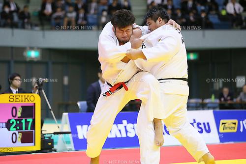 (L-R) Kenta Nishigata, Daiki Kamikawa, NOVEMBER 7, 2015 - Judo : Kodokan Cup 2015 Men's +100kg at Chiba Port Arena, Chiba, Japan. (Photo by Yohei Osada/AFLO SPORT)