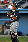 July 23 2008:  Catcher Angel Flores of the Oneonta Tigers, Class-A affiliate of the Detroit Tigers, during a game at Dwyer Stadium in Batavia, NY.  Photo by:  Mike Janes/Four Seam Images